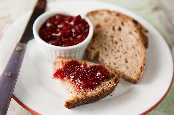 Finished fig jam recipe, spread on toast