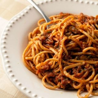 Closeup of meatless spaghetti sauce in a bowl