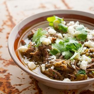 Pork chile verde recipe in a bowl