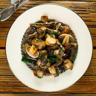 meadow mushrooms recipe in a bowl