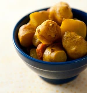 Pickled sunchokes in a bowl
