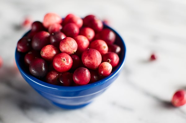 A bowl of wild cranberries