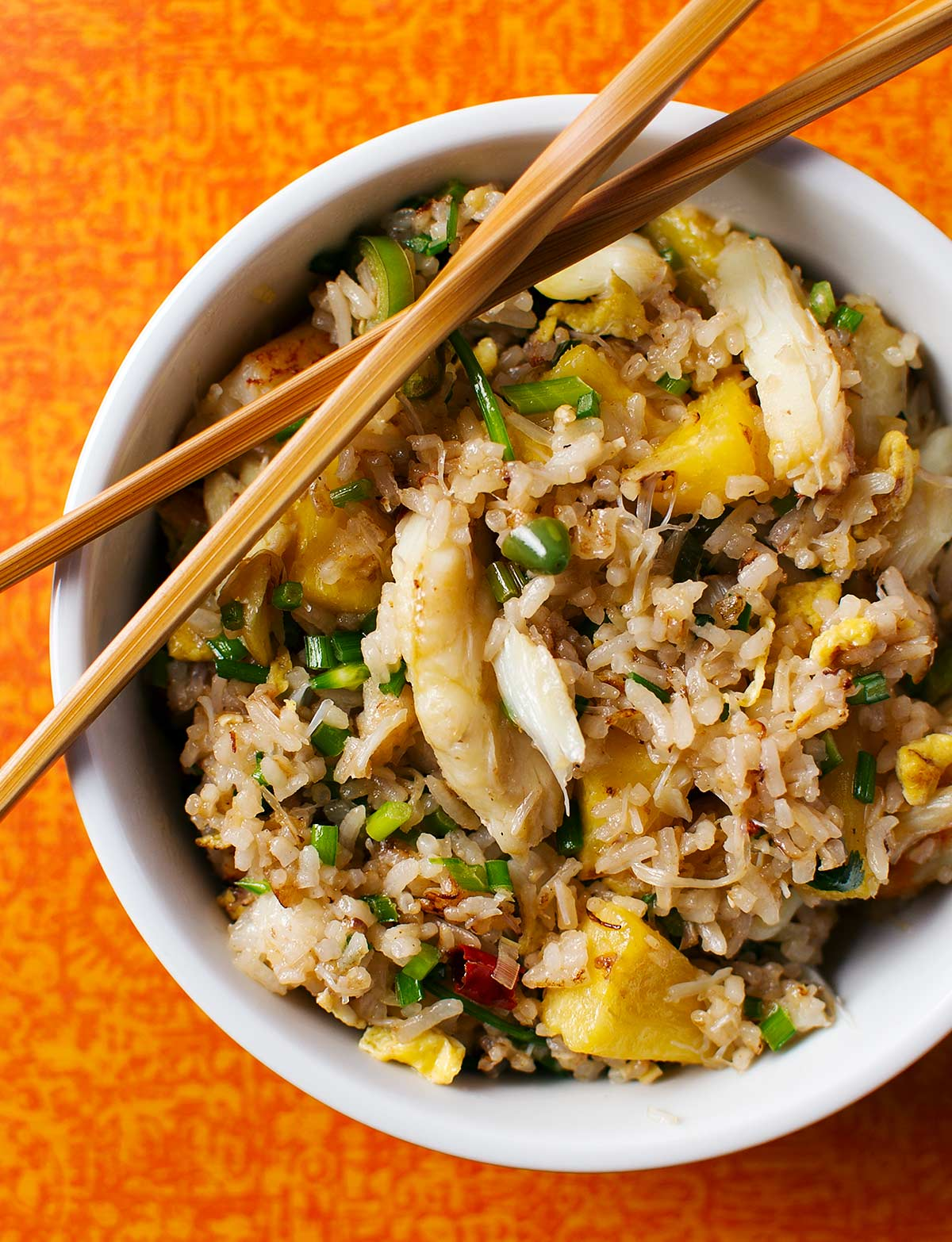 A bowl of crab fried rice