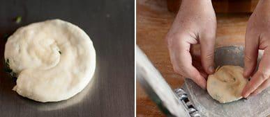 Pressing scallion pancackes