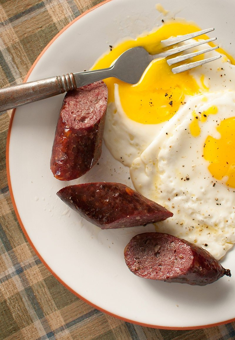 Finished kielbasa recipe. served with eggs