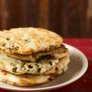 A stack of Chinese scallion pancakes