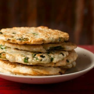 A stack of scallion pancakes