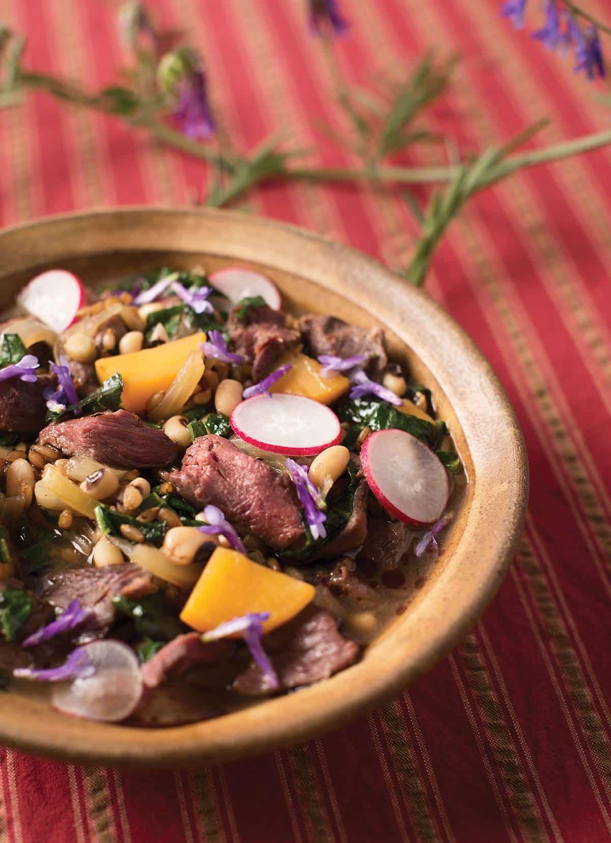 A bowl of Hank Shaw's venison stew recipe