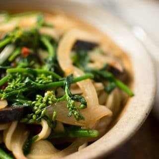 Rapini with pasta in a bowl