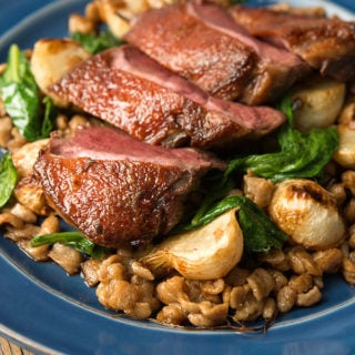 duck with turnips and spatzle on the plate