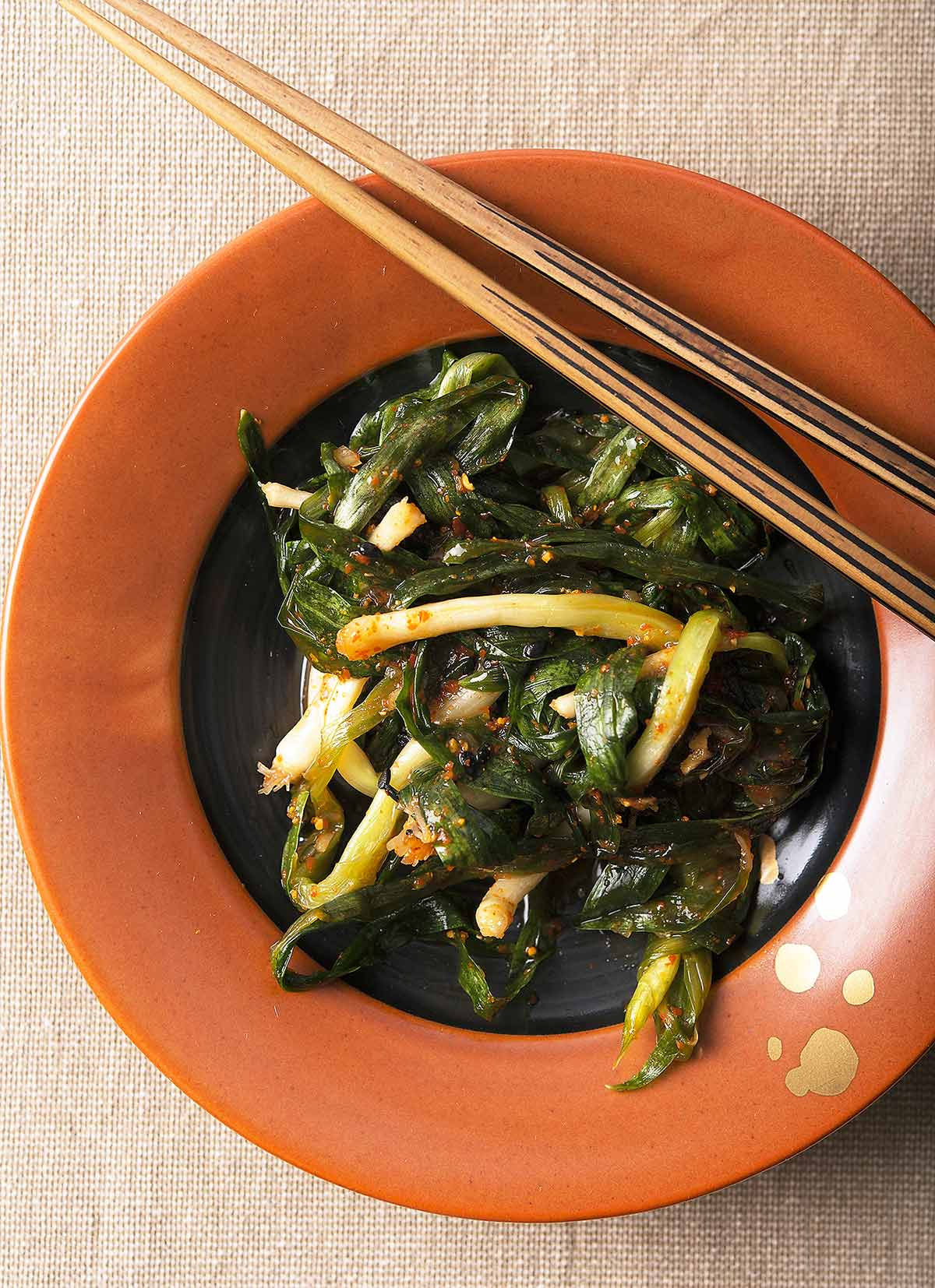 Green onion kimchi on a plate