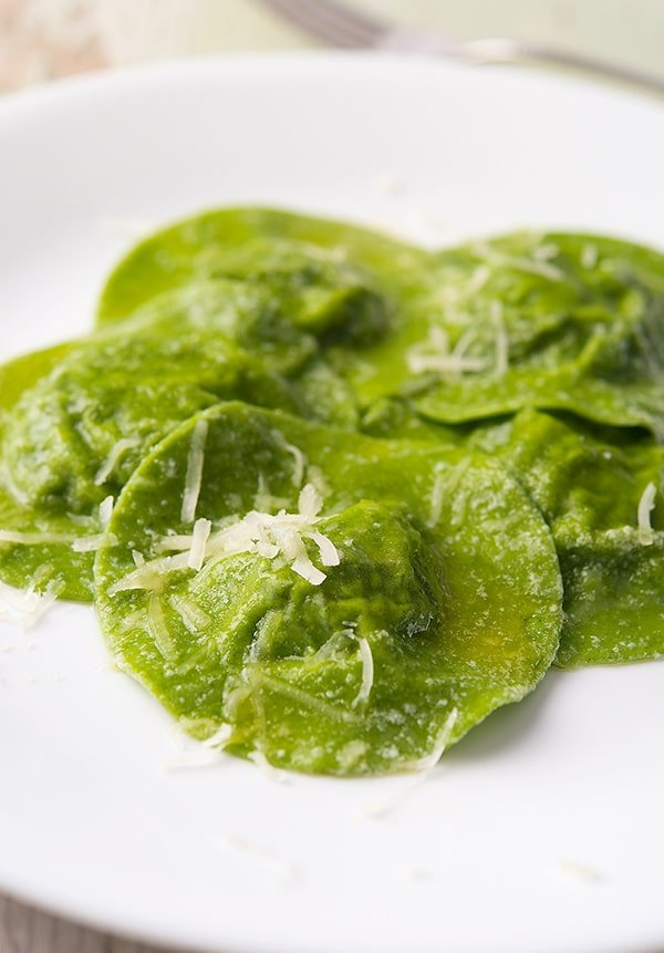 Finished nettle ravioli on the plate