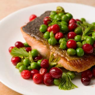 Salmon and peas on a plate