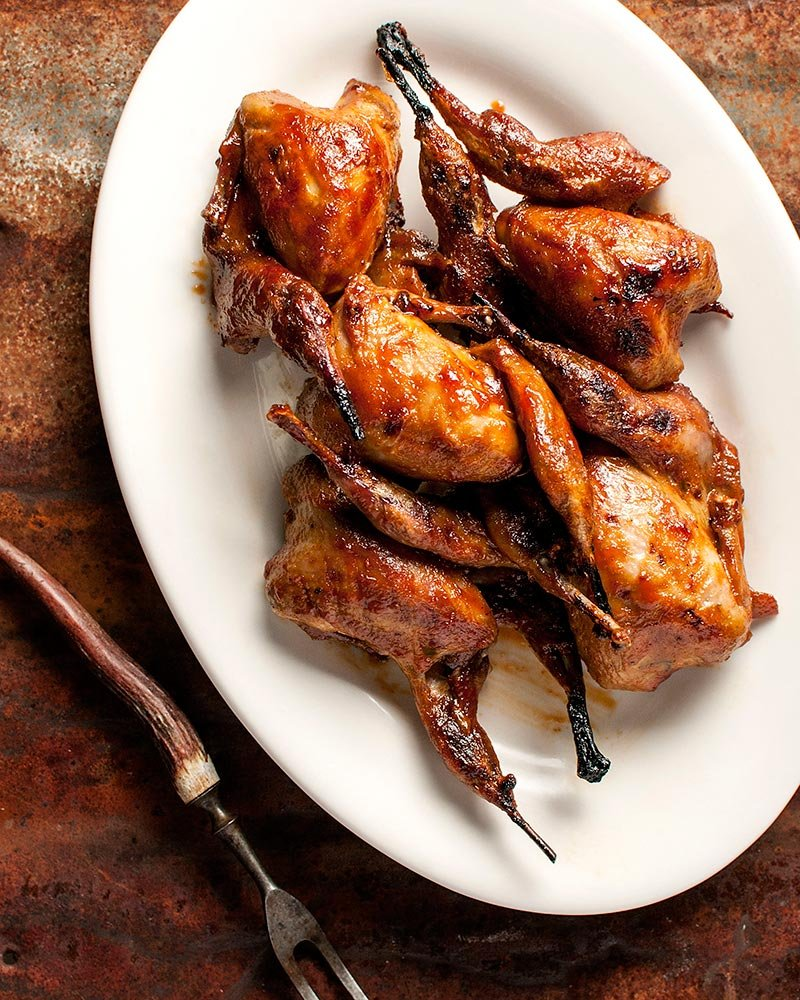 BBQ quail on a platter