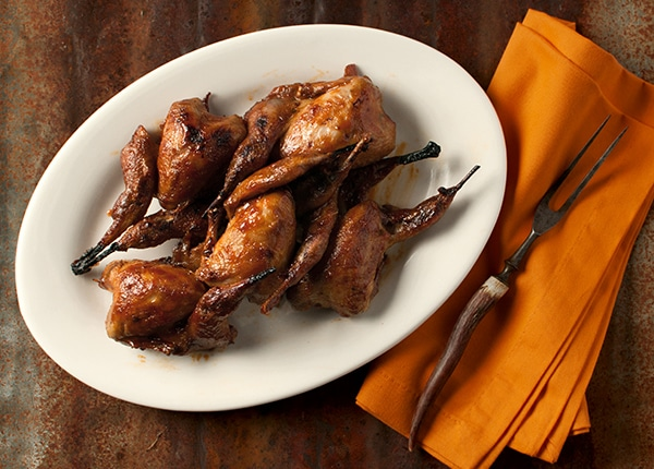 Barbecued quail recipe with southwestern sauce for American southwest cuisine