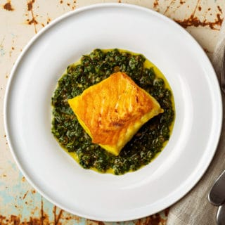 Italian salsa verde served with saffron brined halibut