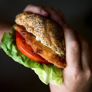 Two hands holding a fried fish sandwich