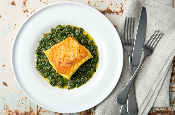 Italian salsa verde served with saffron-brined halibut