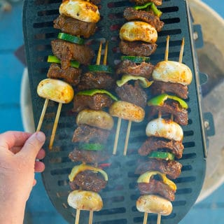Venison kebabs on the grill