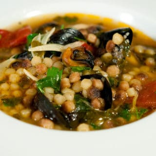 Closeup of the Sardinian soup