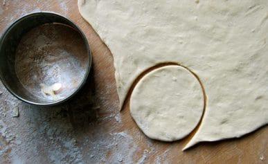 A round of pierogi dough.