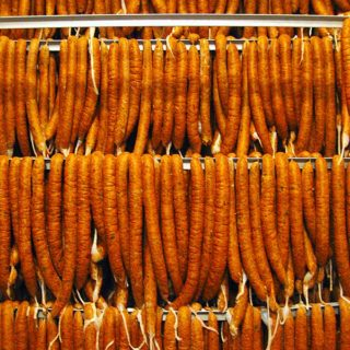 A wall filled with Cajun boudin