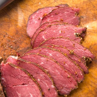 Slices of the finished goose pastrami recipe