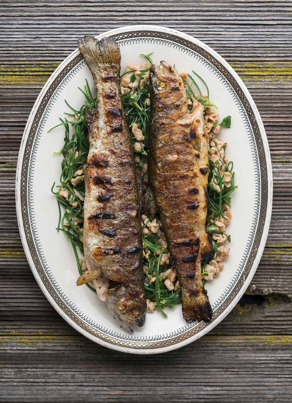 Grilled trout on a platter