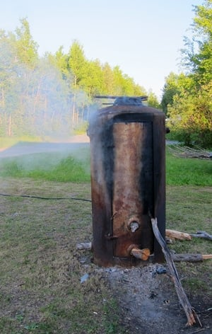 An old boiler used as a smoker