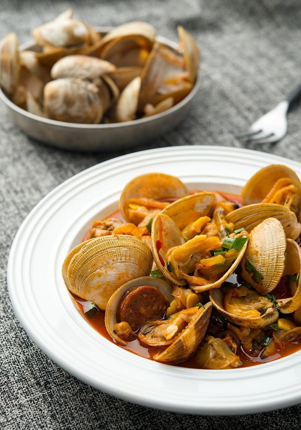 clams and chorizo