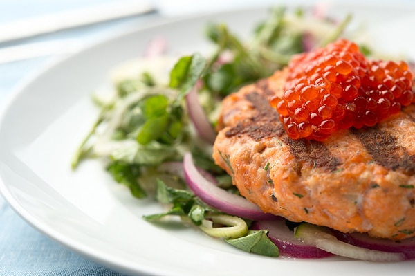 salmon burger detail