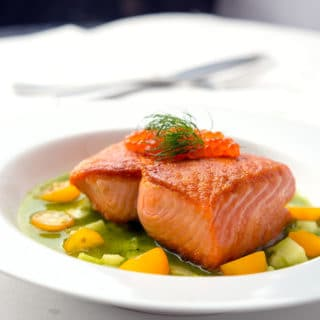 Cucumber sauce for salmon on a pretty plate