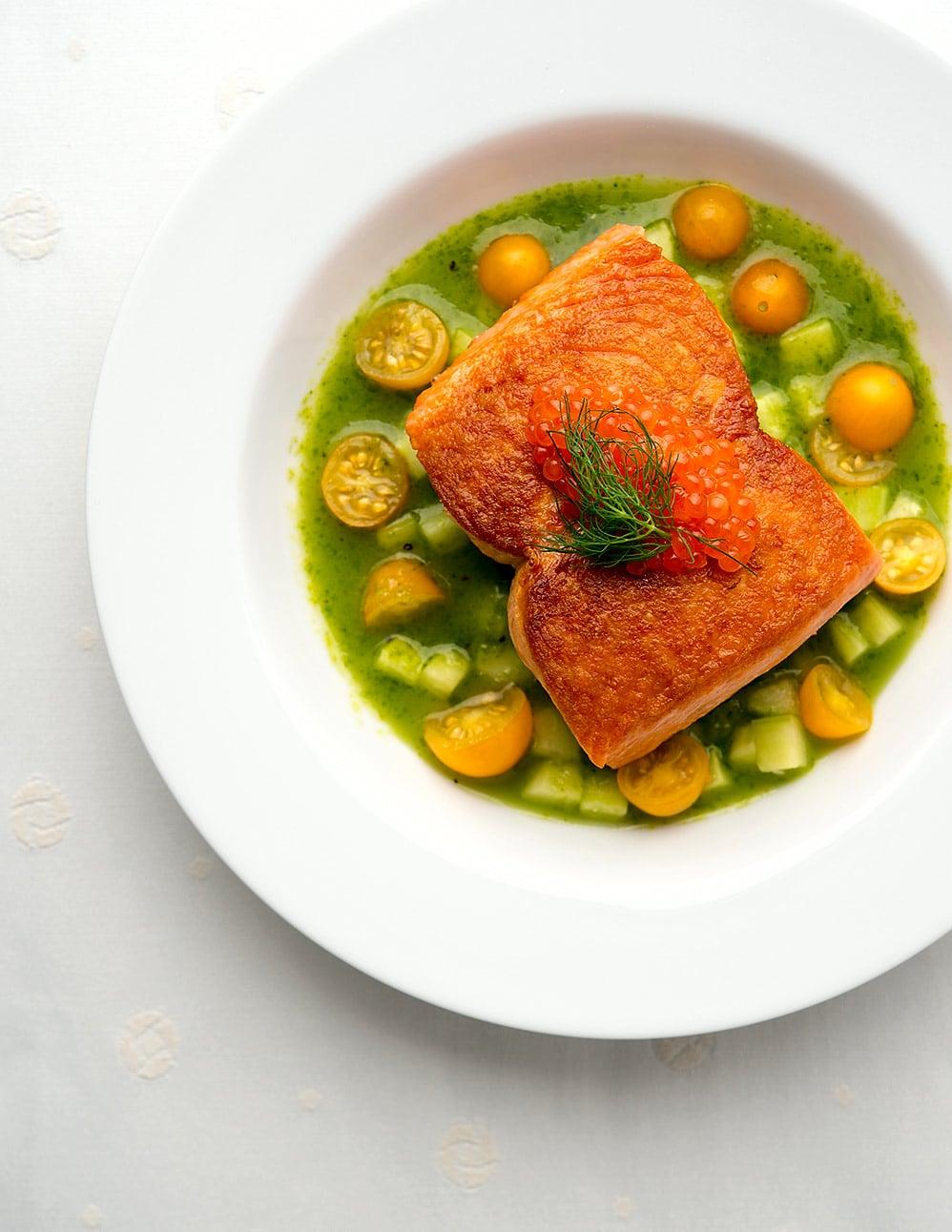 Seared salmon with cucumber sauce