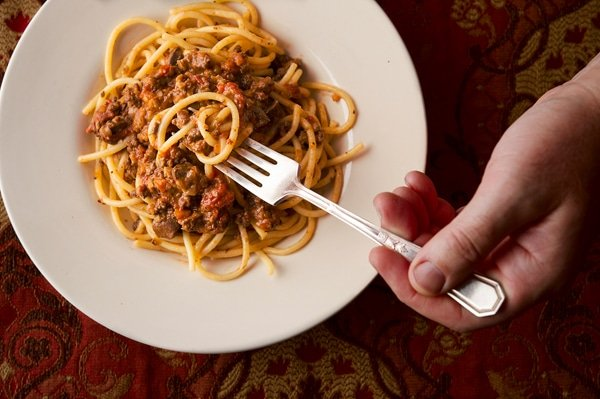 giblet bolognese in the bowl