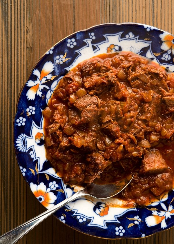 venison goulash in a bowl