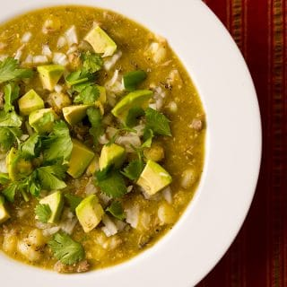 pozole verde with pheasant, in a bowl