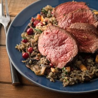Venison steak with wild rice pilaf