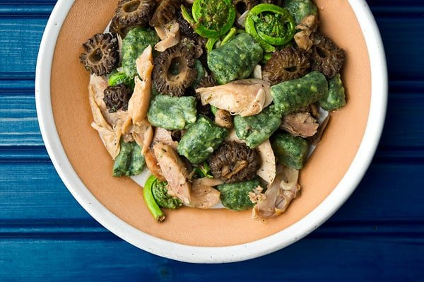 Rabbit with morels and gnocchi