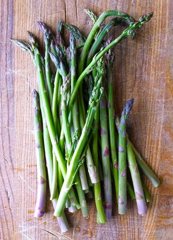 Wild asparagus spears.