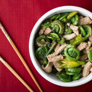 Fiddlehead Stir Fry with Pork