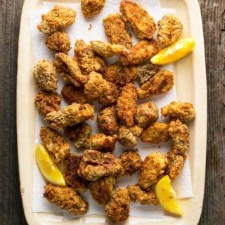 A platter of fried morels