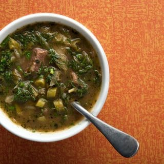 Venison stew with greens