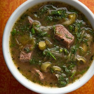 Venison stew with greens recipe