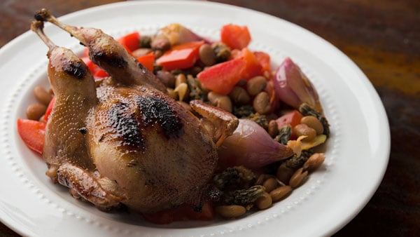 Grilled quail with desert ingredients