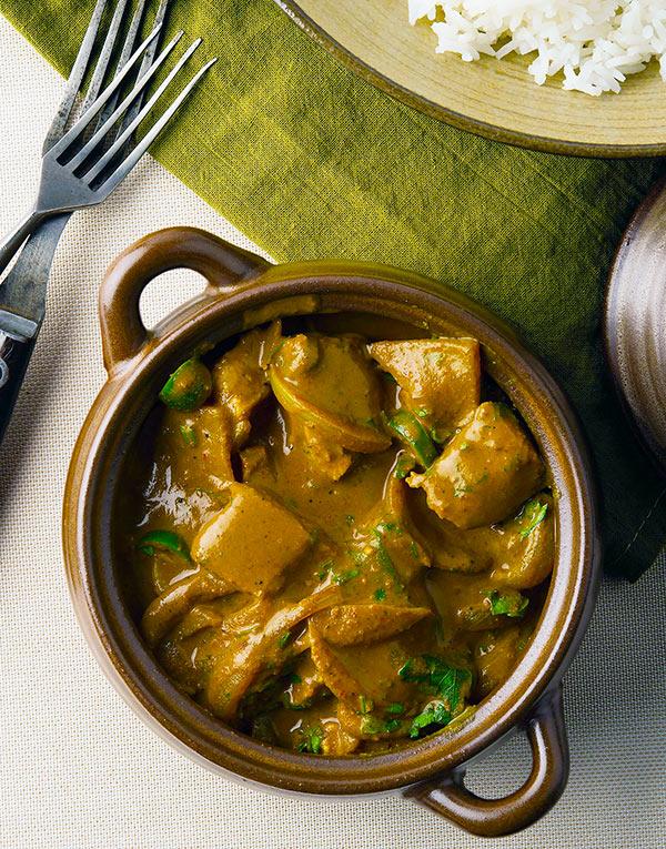 Goan fish curry in a tureen
