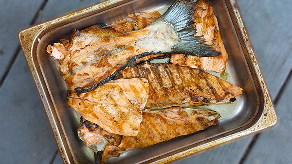 Grilled salmon for salmon salad