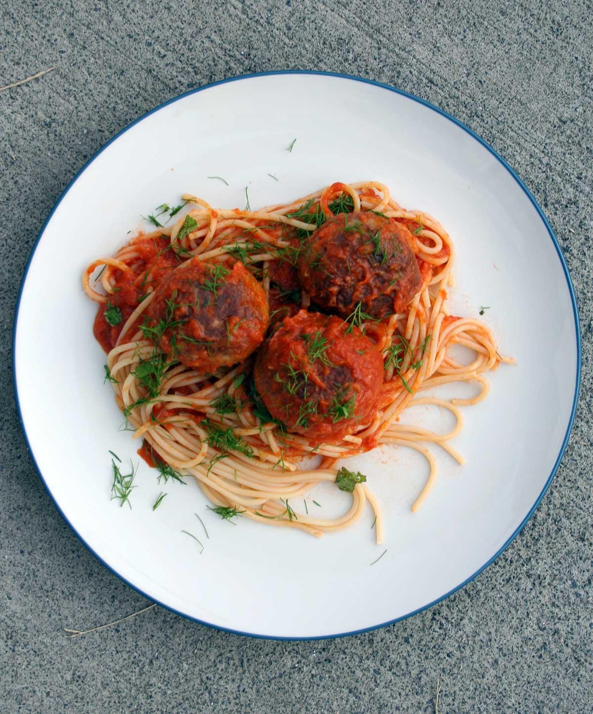 Sicilian tuna meatballs with spaghetti on a plate