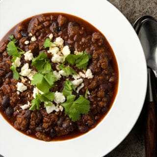 venison chili in a bowl