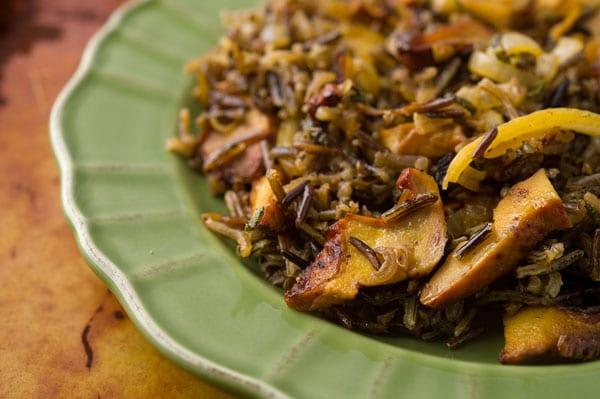 wild rice salad with mushrooms