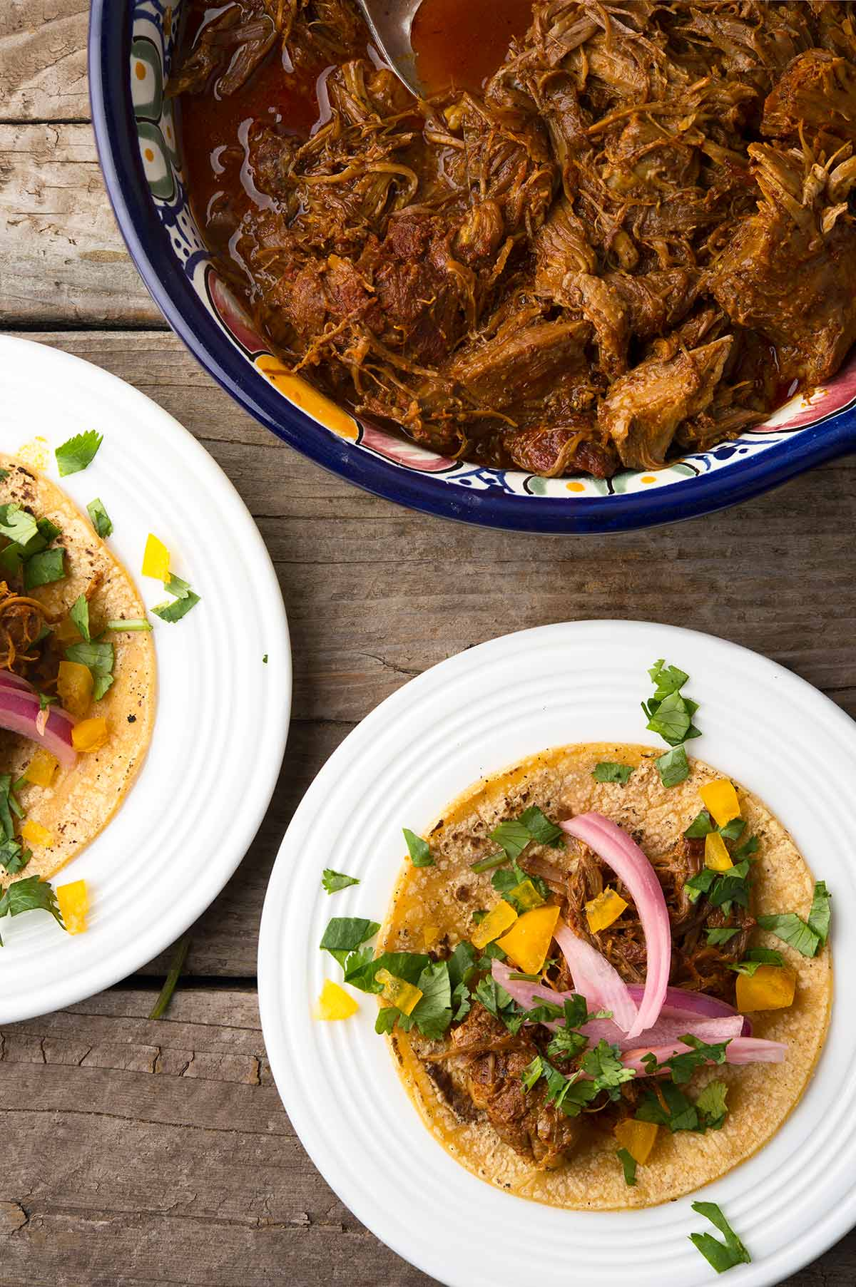 Cochinita pibil tacos ready to eat.